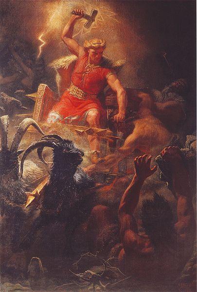 "hor, the god of Norse mythology. ""Thor's battle with the Ettins"" (1872), painting by Mårten Eskil Winge."
